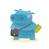 Hippopotamus Kid Student with Book and Bag Going to School Happy Fun Watercolor Style Pupil Animal