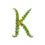 Flower Intricate ABC Sign K Floral Summer Colorful Intricate Calligraphy Design Lettering Element