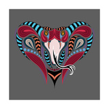 Patterned Colored Head of the King Cobra African  Indian Tattoo Design it May Be Used for Design