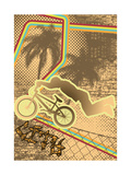 Vintage Urban Grunge Background Design with Bmx Biker Silhouette Vector Illustration