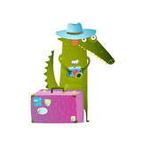 Cute Green Crocodile Tourist with Blue Hat  Suitcase and Camera Funny Wildlife Cartoon Characters