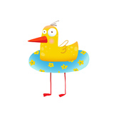Kids Humorous Yellow Duck with Swimming Circle Yellow Baby Bird Cartoon Cute Childish Drawing Tra