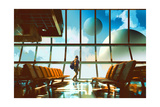 Young Girl Walking in Airport Looking Planets through Window Illustration Painting