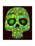 Illustration of Skull Made with Colored Green Circles