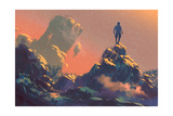 Man Standing on Top of the Hill Watching the Stars Illustration Painting