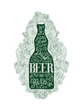Dark Green Beer Bottle with Lettering on the Doodle Background EPS 10 Vector Food and Drink Concep