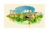 Vector Watercolor Illustration of Panoramic Paris