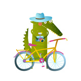Cyclist Crocodile Tourist with Blue Hat  Suitcase and Camera Funny Wildlife Drawing Cartoon Chara