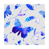 Vector Floral Watercolor Texture Pattern with ButterfliesWatercolor Floral PatternBlue Flowers Pa