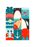 Flat Sea and Fish Rectangular Nautical Set Marine Design Collection Raster Variant
