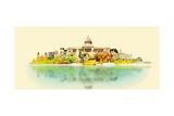 Water Color Vector Panoramic Cuba Illustration