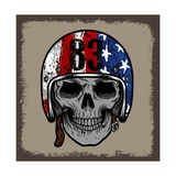 SKULL WITH RETRO HELMET AND AMERICAN Flag OR GRUNGE ISOLATED