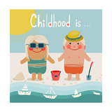 Summer Beach Children Friends Sunbathing Summer Happy Kids Childish Illustration Vector Eps8