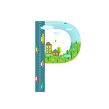 Alphabet Letter P Cartoon Flat Style for Kids Fun Alphabet Letter for Children Boys and Girls With