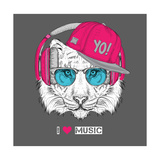 The Image of the Tiger in the Glasses  Headphones and in Hip-Hop Hat Vector Illustration