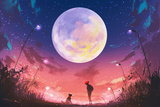 Young Woman and Dog at Beautiful Night with Huge Moon Above Illustration Painting