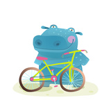Kid Cute Hippo with Bicycle Childish Cartoon Happy Fun Wild Animal Doing Sport for Children Illust