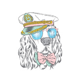 Spaniel in the Captain's Cap Vector Illustration of a Dog