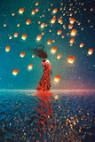 Woman in Dress Standing on Water against Lanterns Floating in a Night Sky Illustration Painting