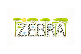African Zebra Animals Fun Lettering Cartoon Brightly Colored Childish Cartoon Sign Raster Variant