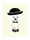 Cute Dog Photographer with Old Camera Vintage Illustration Vector