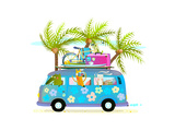 Holiday Summer Bus with Beach Tropical Vacation Tourists Baby Animals and Palms Touristic Holidays