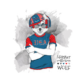 Illustration of Wolf Dressed up in the Glasses and in the T-Shirt with Print of USA Flag Vector Il