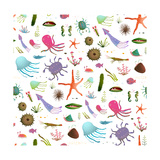 Colorful Kids Cartoon Sea Life Seamless Pattern Background on White Childish Underwater Animals Cu