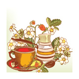 Tea or Coffee Vector Background with Cup and Strawberry