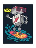 Surfer Robot Vector Design for Tee