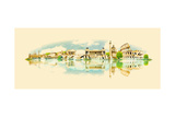 Vector Water Color Illustration Panoramic Rome View