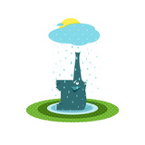 Funny Graphic Elephant and Rain Blue Cheerful Elephant Sitting on the Lawn Vector Illustration EP