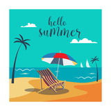 Hello Summer Poster Tropical Beach with Palm Trees and Umbrella Vector Background