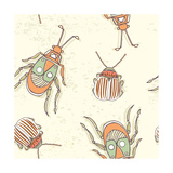 Hand Drawn Beetles Seamless Pattern Insect Collection Can Be Used for for Postcard  T-Shirt  Fabr
