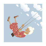 A Funny Granny on the Swing is Happy like a Child