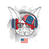 Illustration of Rabbit in the Glasses  Headphones and in Hip-Hop Hat with Print of Usa Vector Illu