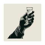 Male Hand Holding a Shot of Alcohol Drink Hand Drawn Design Element Engraving Style Vector Illus