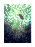 Digital Painting of Underwater View with the Tree Branch and Stones Waves and Reflection of the Sun