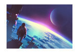 Sci-Fi Concept of the Man Looking at a Surface of the Earth from a Space Illustration Painting
