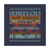 Vector Illustration on the Theme of Surf and Surfing in California  Malibu Beach Grunge Background