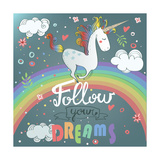 Vector Card with Cute Unicorn  Rainbow  Decor Elements