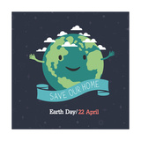 Earth Day  22 April save Our Home  Cartoon Earth Illustration Ecology Concept