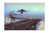 Man Becomes Bird Standing on End of Line Illustration Painting