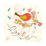 Bird-Mail Postcrossing Cheerful Cute Bird with Letter Spring Mood