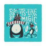 Shirt Print with Band of Circus Monkey and Bear Playing on Musical Instruments Lettering Slogan Mu