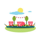 Pigs Eating Food at Farm Funny Small Pigs Having Party Vector Illustration Eps8 No Effects