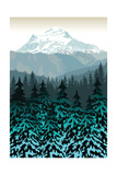 Vintage Vector Mountains Forest Background Poster