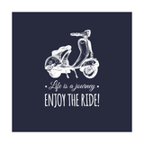 Hand Sketched Scooter Banner with Motivational Quote Life is a Journey  Enjoy the Ride in Speech Bu