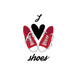I Love Shoes Poster Vector Illustration of Pair of Gumshoes