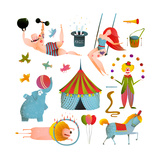 Circus Carnival Show Clip Art Vintage Collection Fun and Cute Performance with Animals  Clown  Str